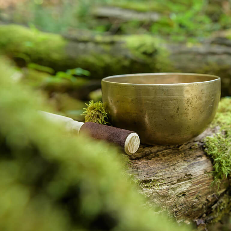 Klangschale im Wald