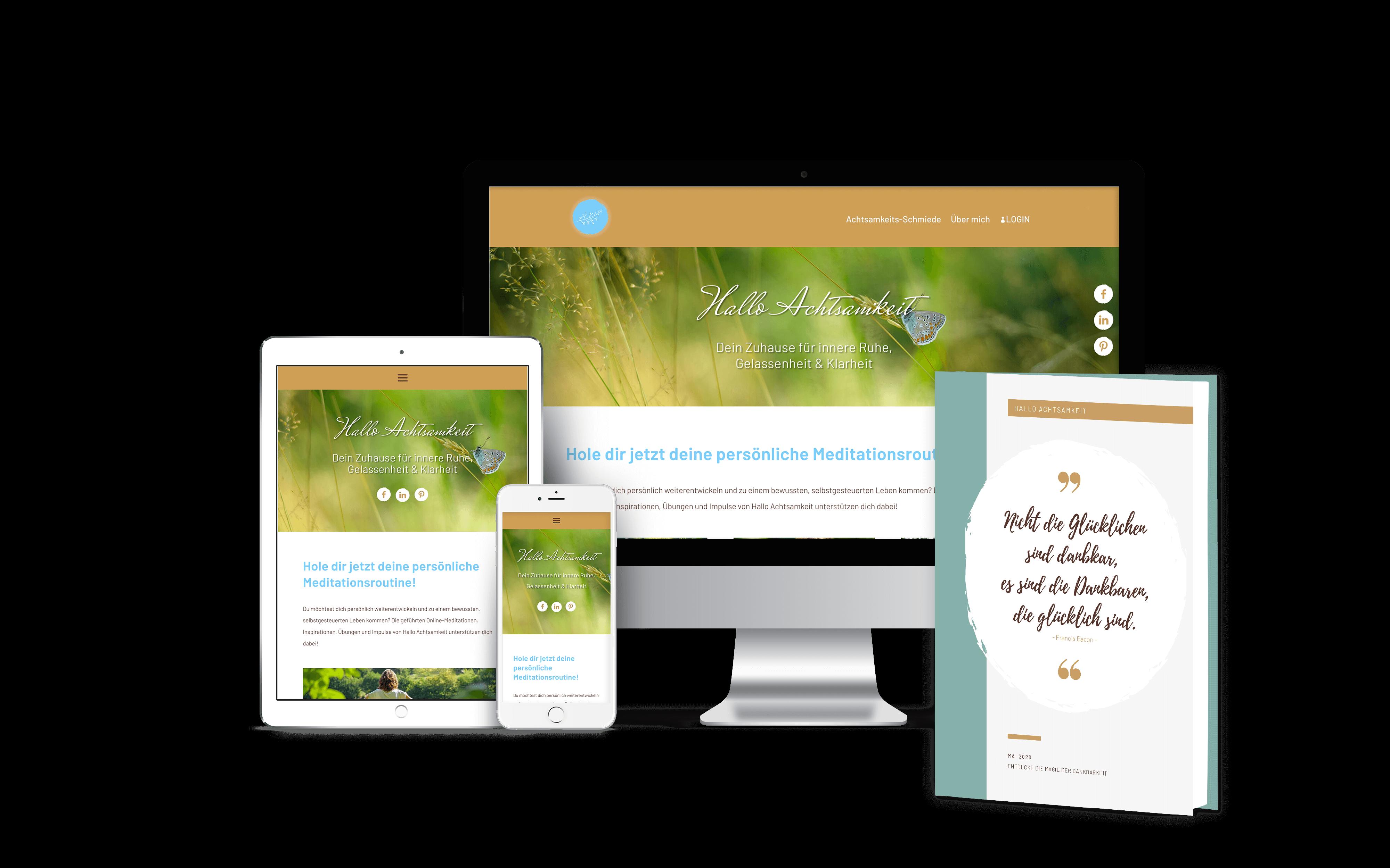 Ansicht der Seite auf unterschiedlichen Medien - Desktop, Tablet, Mobilgerät und Buchcover